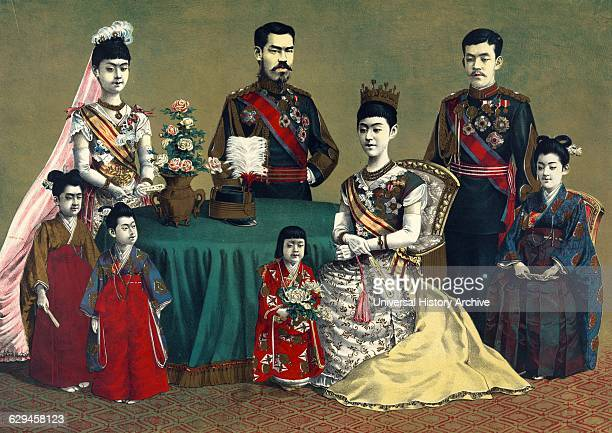 Woodcut illustration shows a group portrait of Meiji Emperor of Japan and the imperial family