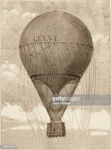 Woodcut illustration shows 'Le Geant' a huge balloon built by French photographer and balloonist Felix Nadar in flight above Paris France 1863