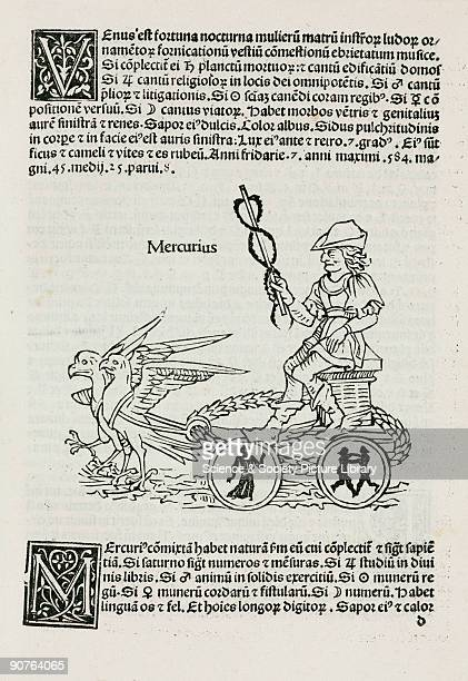 Woodcut incorporating symbolic elements each with a different mythical or astrological meaning that would have been easily understood by fifteenth...