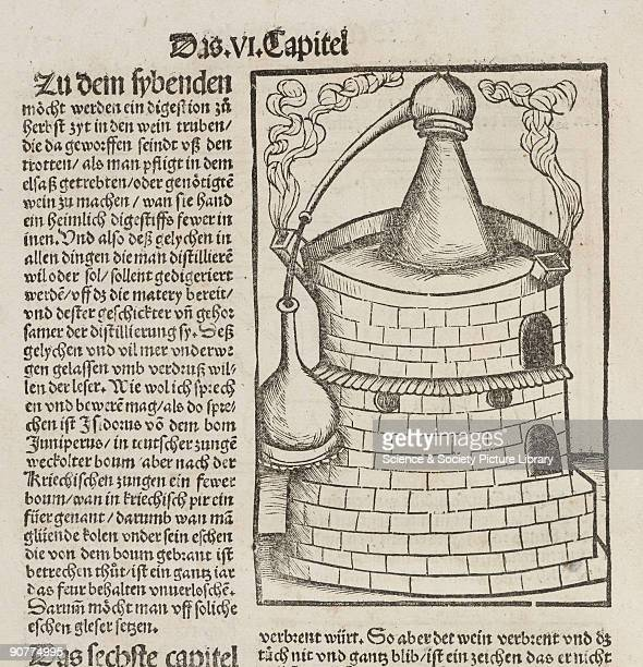 Woodcut of a distillation furnace repeated several times in �Liber de arte Distillandi de Compositis� by Hieronymus Brunschwig published in...
