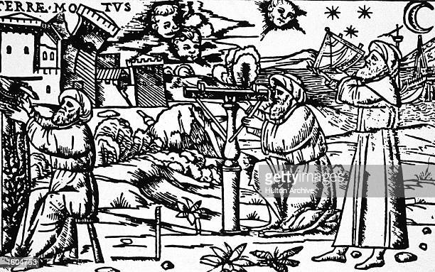 Woodcut of astronomers using sighting devices said to be Caliph alMamun of Baghdad late 15th century