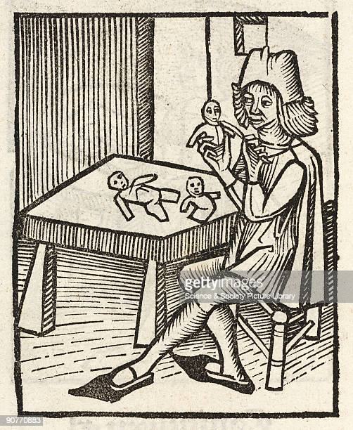 Woodcut of man holding figures in human form He is possibly making puppets Illustration from �Hortus Sanitatis� printed by Johann Pruss in Strasbourg...