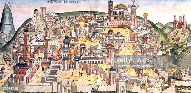 Woodcut of the destruction of Jerusalem by the Chaldeans from the Nuremberg Chronicle The Nuremberg Chronicle is an illustrated biblical paraphrase...