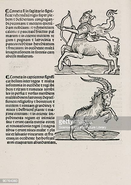 Woodcut of two signs of the zodiac with text which discusses the appearance of comets in each of these constellations and the terrible events that...