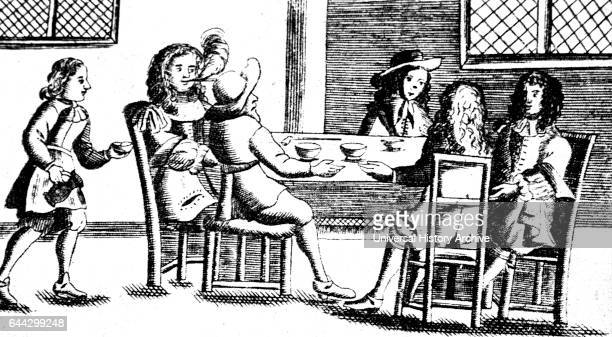 Woodcut print depicting the interior of a coffee shop in London Dated 17th Century