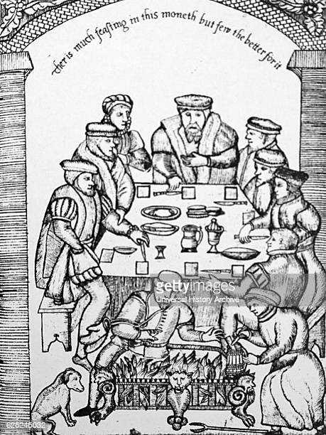 Woodcut print of an Elizabethan Banquet Dated 16th Century