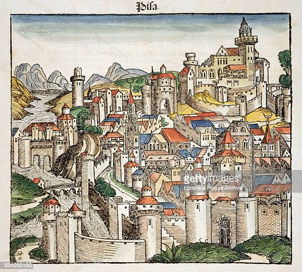 Woodcut Print of Medieval Town of Pisa from Liber Chronicarum Compiled by Hartmann Schedel