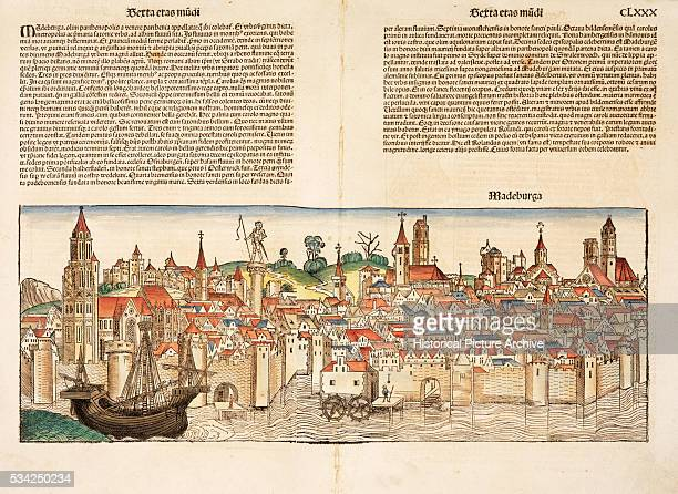 Woodcut Print of Medieval Town of Radeberg from Liber Chronicarum Compiled by Hartmann Schedel