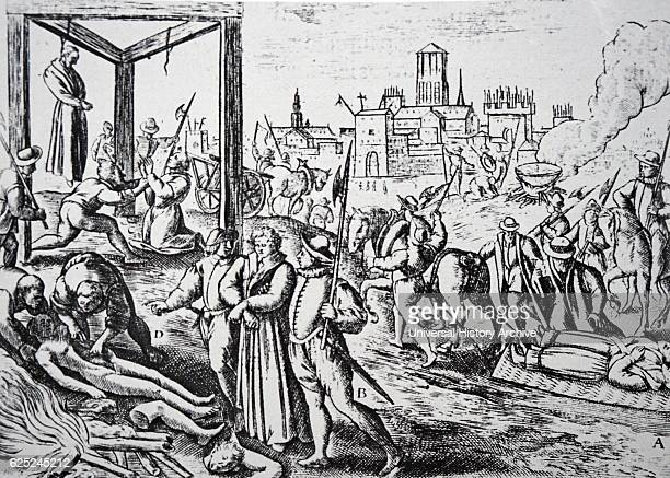 Woodcut print of the English persecution of English Catholics Dated 16th Century