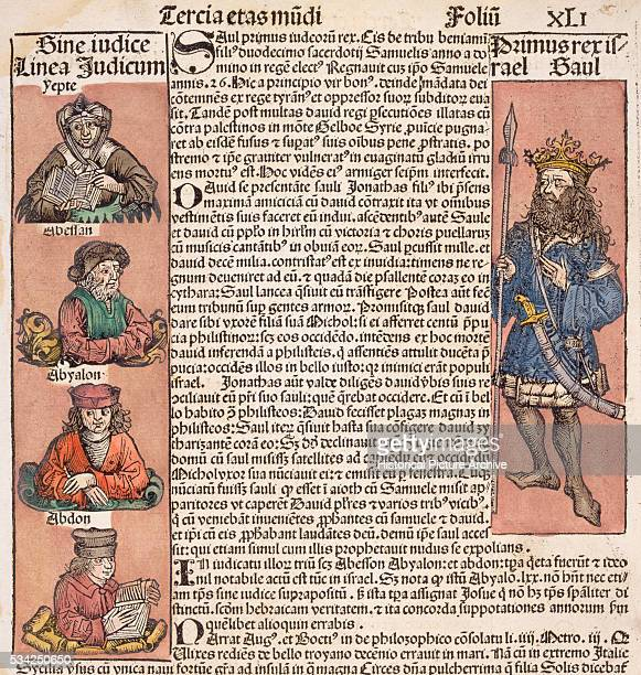 Woodcut Print with Depiction of Medieval Figures from Liber Chronicarum Compiled by Hartmann Schedel