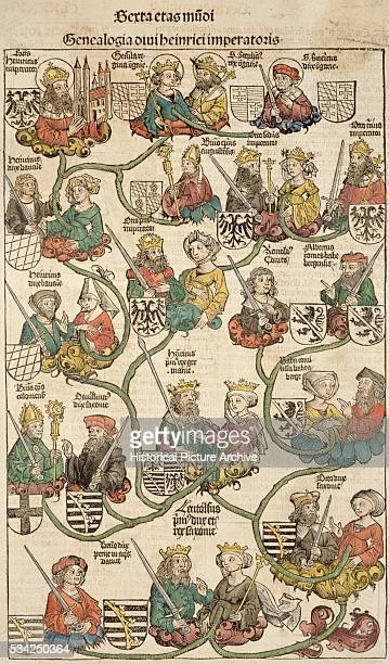 Woodcut Print with Medieval Depiction of Imperial Genealogy from Liber Chronicarum Compiled by Hartmann Schedel