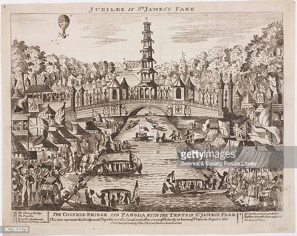 Woodcut showing the Chinese pagoda and bridge created over the canal at St James� Park in honour of the the Grand Jubilee celebrations on 1 August...