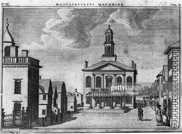 A 1790 woodcut shows the courthouse in Salem Massachusetts