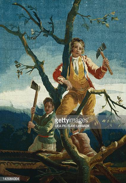 Woodcutters 18th century tapestry based on a cartoon by Francisco Goya 177980 manufacture of Santa Barbara
