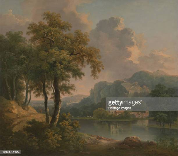 Wooded Hilly Landscape, 1785. Artist Abraham Pether. .