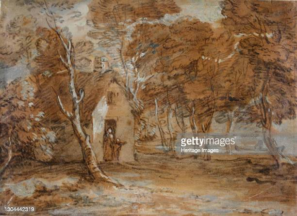 Wooded Landscape, Cottage, Figures and Boat on Lake, 1783-1785. Artist Thomas Gainsborough.