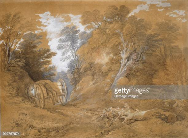 Wooded landscape with a peasant boy asleep in a cart, 18th century. Artist Thomas Gainsborough.