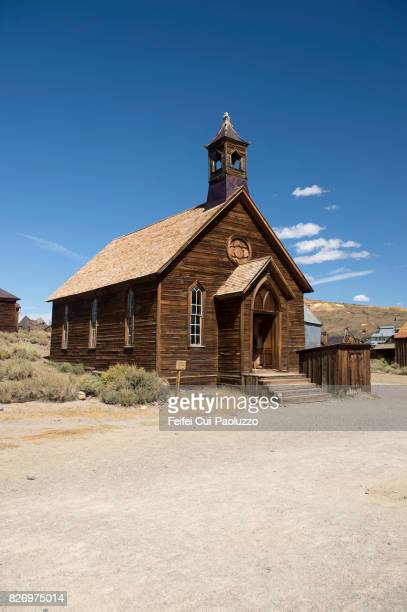 wooden ancient church at bodie state historic park, gold mining ghost town, california, usa - california gold rush stock pictures, royalty-free photos & images