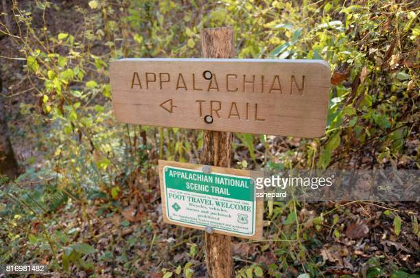 wooden and metal appalachian trail signs - appalachian trail stock photos and pictures