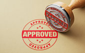 Wooden Approved Stamp On Recycled Paper
