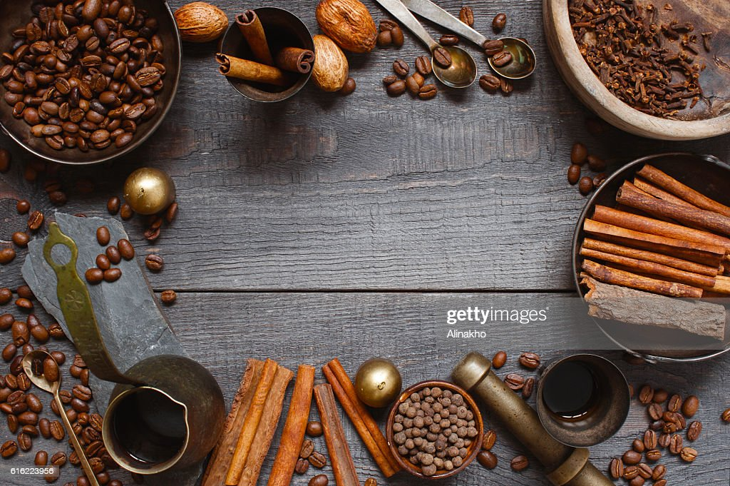 Wooden background with turkish coffee : Foto stock