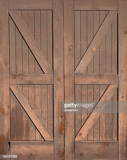 Wooden Barn Doors Isolated