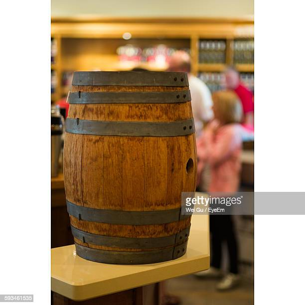 Wooden Barrel On Table At Bar