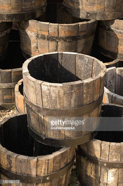 Wooden barrels and tubs
