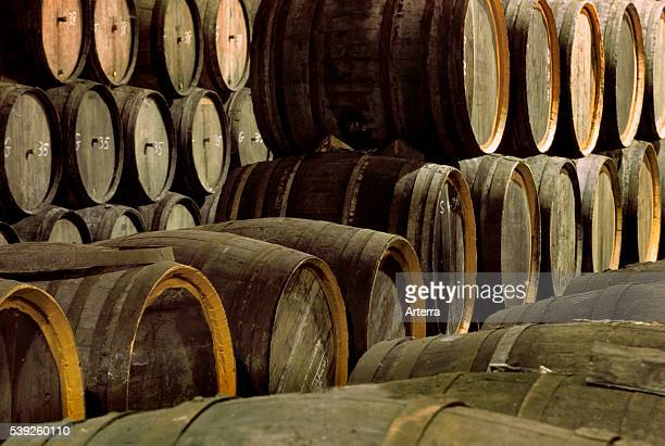 Wooden barrels in storage cellar of brewery with the Belgian beer Geuze Belgium