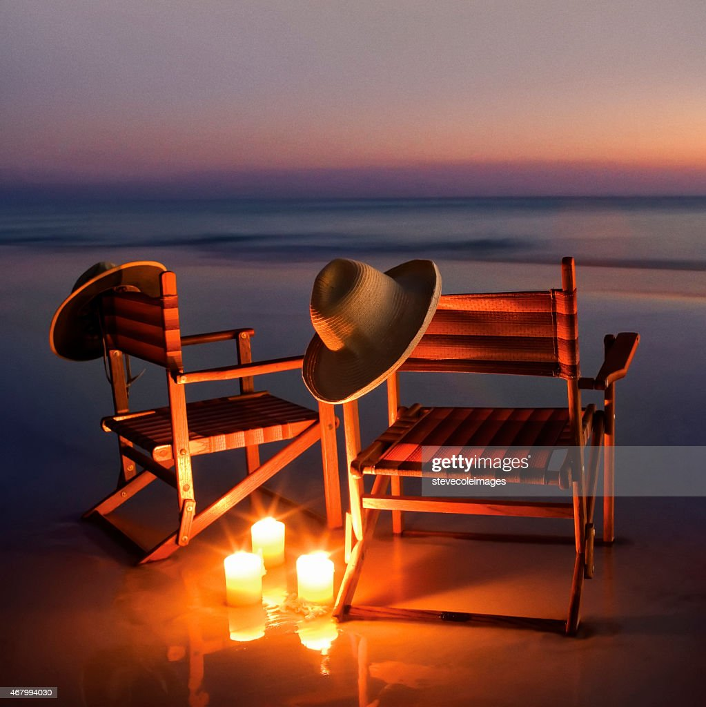 Wooden Beach Chairs On Beach At Sunset Or Sunrise Stock Photo