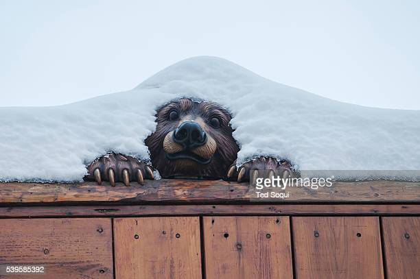 A wooden bear carving covered with snow in Big Bear CA El Niño winter storms delivers it's first rain storms of winter in to the Los Angeles area The...