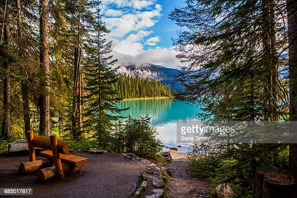 wooden bench at mountain lake - lake louise stock photos and pictures
