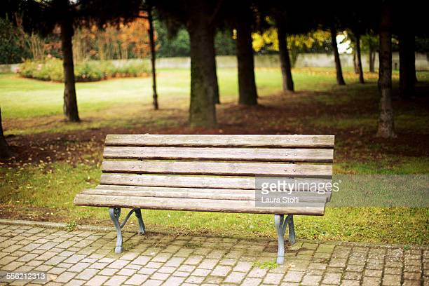 Wooden bench in empty park in Italy