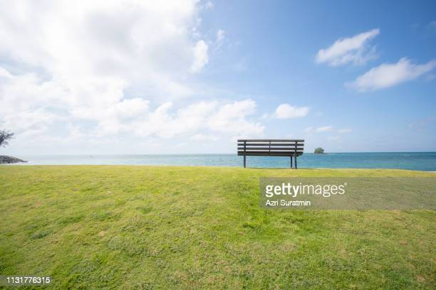 wooden bench in front of the sea - front view ストックフォトと画像