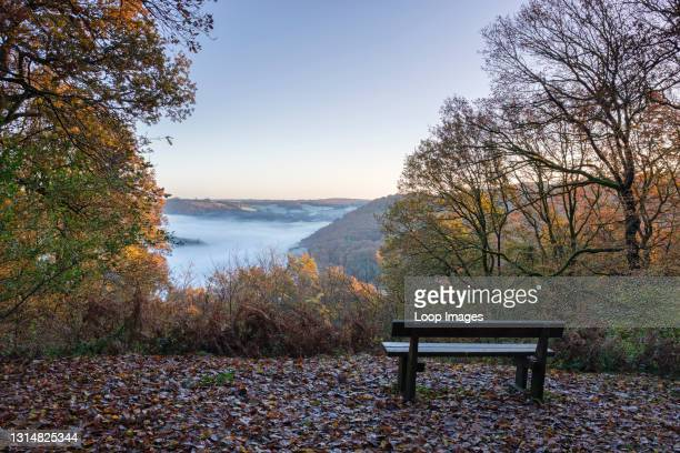 Wooden bench with a view along the Wye valley from Cuckoo Wood near Tintern.