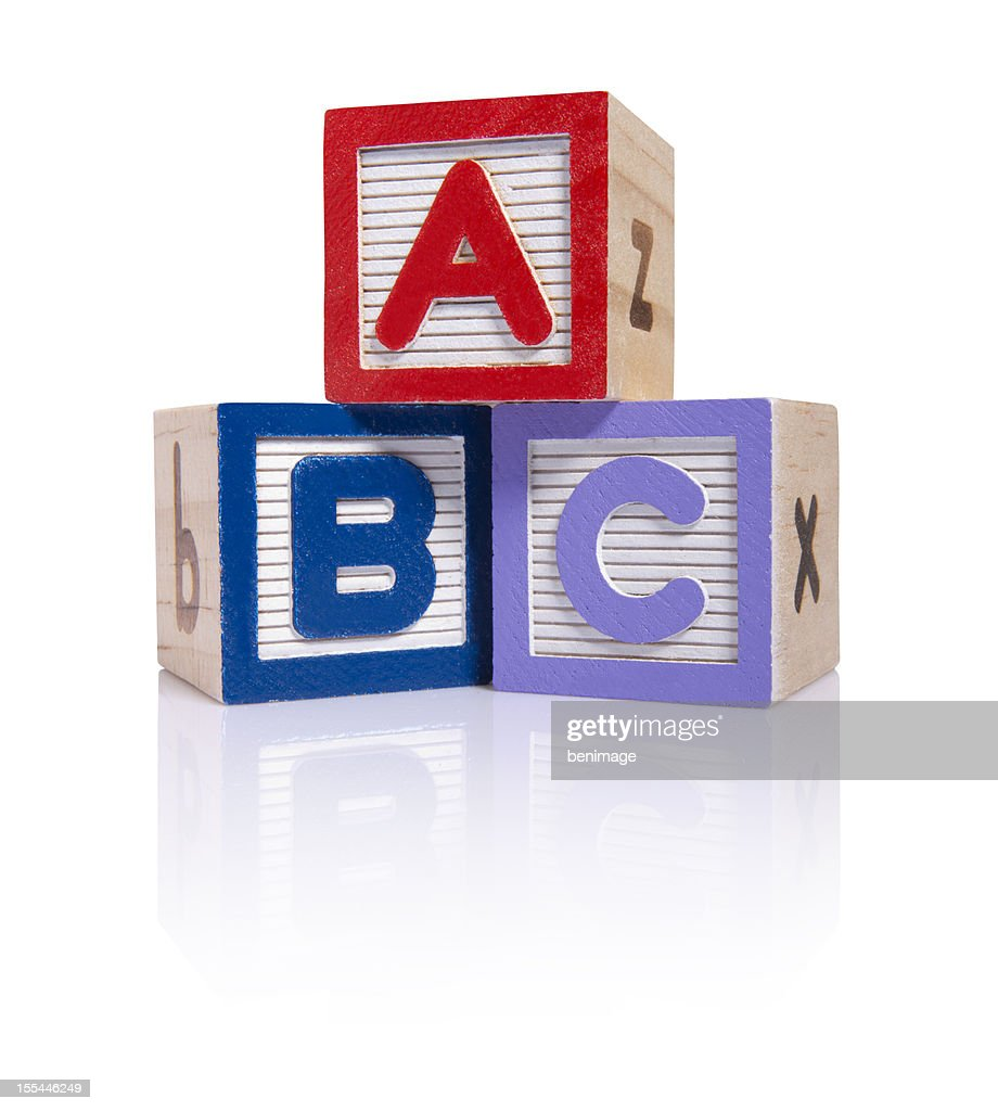 ABC wooden blocks cube (clipping paths) : Stock Photo