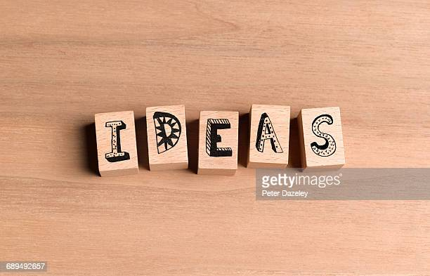 wooden blocks spelling out the word ideas - image stock pictures, royalty-free photos & images