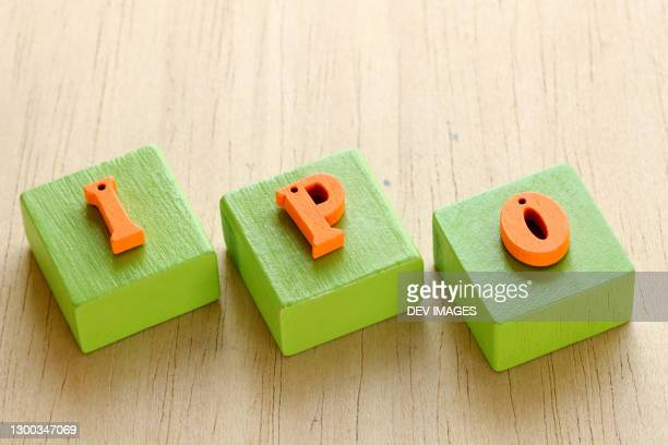 ipo wooden blocks-initial public offering - initial public offering stock pictures, royalty-free photos & images