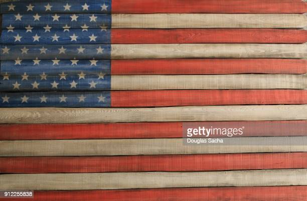 Wooden boards painted as an American Flag