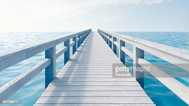 Wooden boardwalk, 3D Rendering