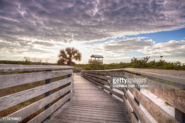 wooden boardwalk leading towards plants against sky - marco island stock pictures, royalty-free photos & images
