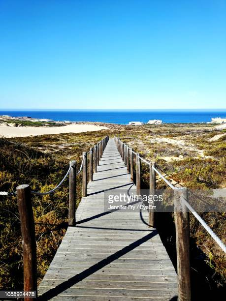 wooden boardwalk leading towards sea against clear sky - cascais stock photos and pictures