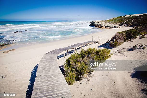 A wooden boardwalk leads through indigenous green shrub onto a beautiful pristine and desolate bay and beach with waves breaking white onto the sand from a blue Indian Ocean, Koppie Alleen, De Hoop Nature Reserve, Overberg Region, Western Cape Province, S