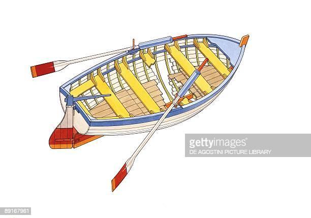 Wooden boat illustration