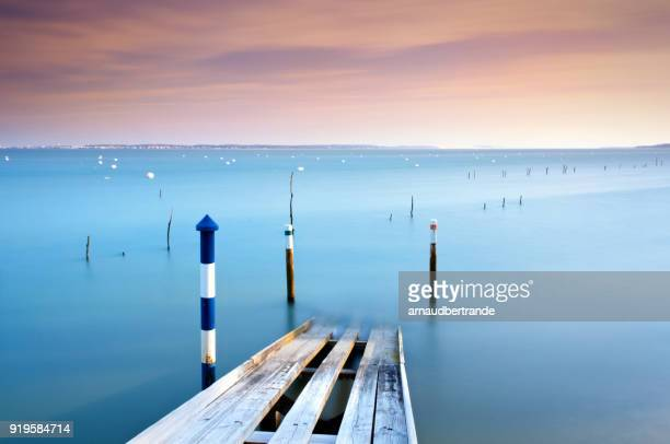 Wooden boat launch, Piraillan, Arcachon, Gironde, Nouvelle-Aquitaine, France