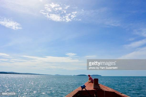 wooden boat prow on the gulf of thailand, cambodia - wispy stock photos and pictures