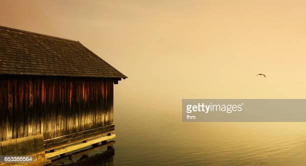 A wooden boathouse near a lake - sunset and wintertime a bird (Hallstatt, Upper Austria, Austria)