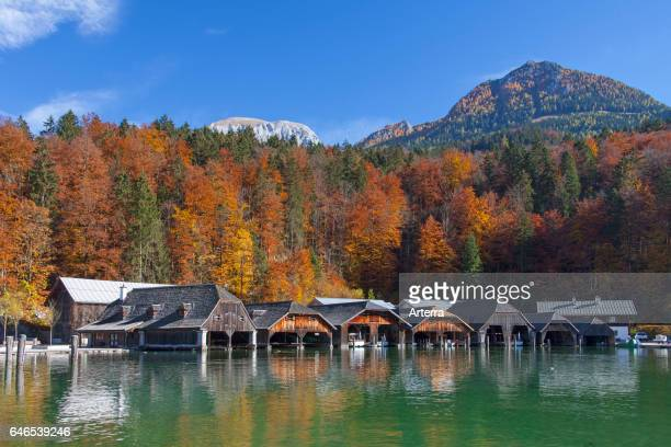 Wooden boathouses along Konigssee / Kings lake in autumn Berchtesgaden National Park Bavarian Alps Bavaria Germany