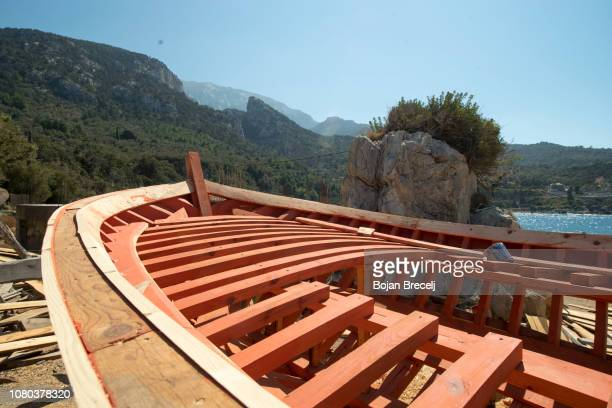 Wooden boats building shipyard
