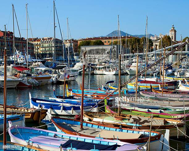 wooden boats in nice harbour